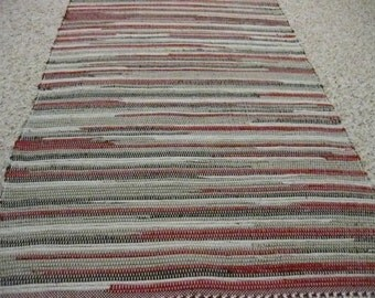 Handwoven Red, Brown, Tan Rag Rug 25 x 70 (M)