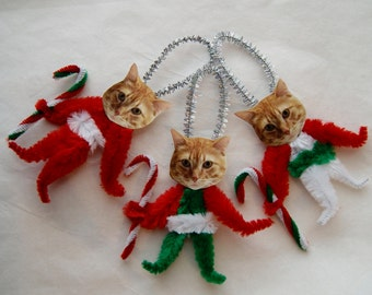 Christmas ornaments  ORANGE TABBY Cats, Vintage Style Chenille Ornaments, Pet ornaments   (114)