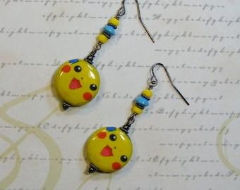 Pokemon GO-decoupage earrings, pikachu, turquoise, gunmetal, 2 1/4 inches