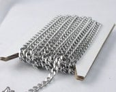 Stainless Steel chain bulk, 3 ft of Surgical Stainless Steel Sturdy BIG Curb chain - 4.5mm width 16G Wire
