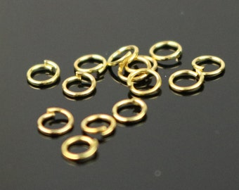 3mm THIN Jump Rings, 200 Gold Plated Jump Rings Jumprings Open 3x0.4mm 26 Gauge 26G Link Connector Jump Rings - ship from California USA