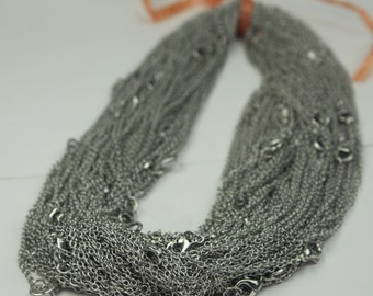 5 pcs of Ready to wear Rhodium SOLDERED Cable Chain Necklace with Lobster Clasp - 20inch(52cm) - Ship from USA