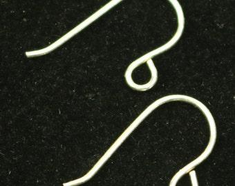 10 Sterling SILVER Simple Ear Wires Earrings hooks Earwires - 13.5x20mm 20Gauge 0.8mm Wire - 5 Pair Fish hook ear wire - ss748