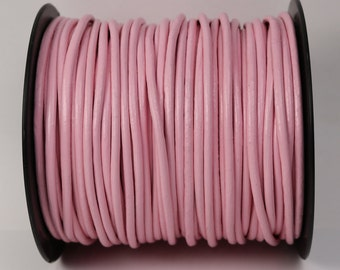 5 feet Pink Leather Cord - 3mm Genuine Leather Round Cord - USA Seller