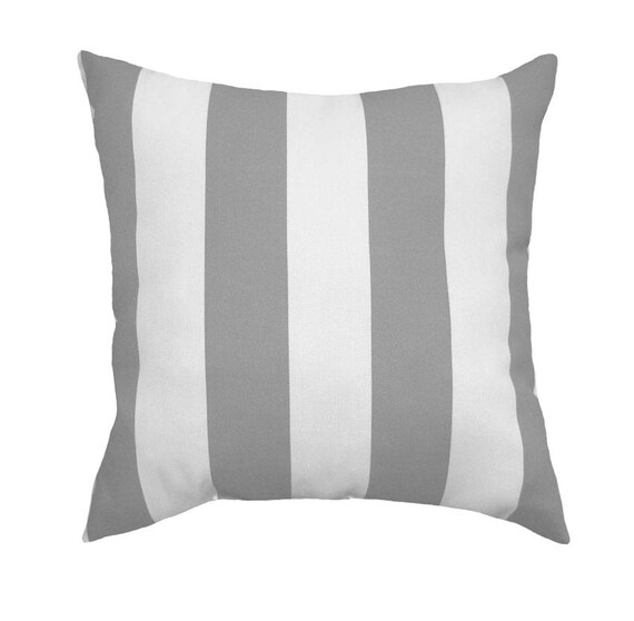 outdoor grey and white stripe pillow deck patio stuffed. Black Bedroom Furniture Sets. Home Design Ideas