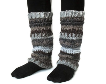 Gypsy Bohemian Leg warmers Multicolored Textured stripped Earth Tones Grey Brown Tan Ready to Ship