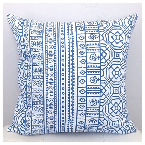 Royal Blue And White Throw Pillows : Decorative Tribal Pillow Cover Royal Blue and White Pillow