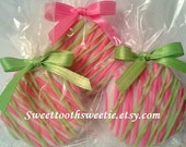 Pink and Green Chocolate Covered Oreos Cookies Wedding Favors Christening Birthday Party Sweet 16 Party Pink Green Baby Shower Cookies Favor