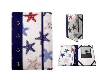 Kindle Paperwhite Cover, Kindle Cover Hardcover, Kindle Case,Kindle Fire HDX, Starfish , Anchors , Navy Blue, Red White , Cream