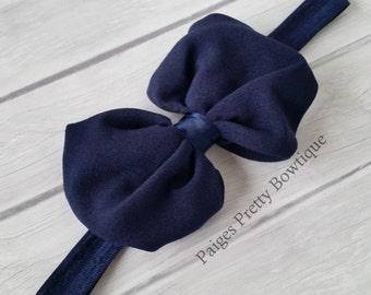 """4"""" Navy Chiffon Bow Baby Headband-Toddler Headband"""