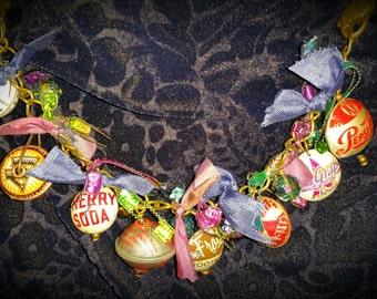 Steampunk Jewelry, Bottlecap Bead Necklace / Bracelet, Upcycle, Repurpose, Reuse, Handcrafted - EK Original #009