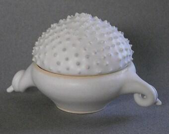 White ceramic box, ring box, trinket box,