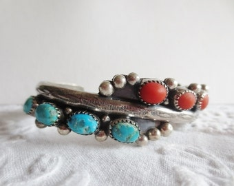 Vintage Native American Bracelet Cuff Turquoise Coral Sterling Silver