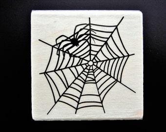 HALLOWEEN SPIDER & WEB Wood Mount Rubber Stamp