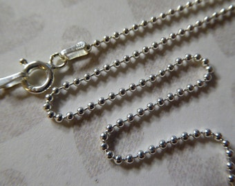 925 Sterling Silver Chain, 1.5 mm BALL CHAIN, Finished Necklace, 16 18 20 24 30 36 inch, d788.16 d788.18 d788.20 d788.24 d788.30 d788.36 tpc