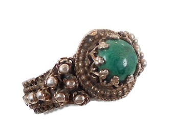 Chrysocolla Ring, Sterling Silver, Vintage Ring, Size 7 1/2, Middle Eastern, Ethnic Tribal, Turquoise Green, Gypsy Nomad, InVintageHeaven