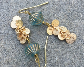 Aqua And Gold Czech Glass Earrings With A Cascade Of Shimmering Gold Discs