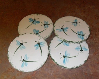 Set of four Dragonfly Coasters with Stand