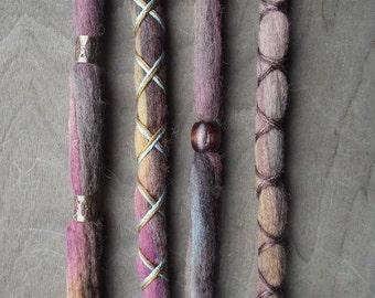 4 Tie-Dye (READY to SHIP) Wool Dreads Wrapped & Beaded Bohemian Hippie Dreadlocks