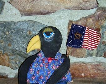 PriMiTiVe fOlKaRt Americana Black Crow Art Doll & Patriotic USA Flag July 4th ofg faap hafair