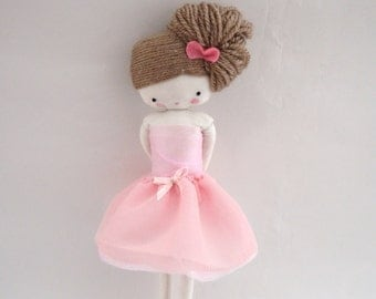 Ballerina rag doll -size pocket  plush toy cloth art doll, tutu pink pale tulle Made to order