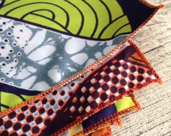 African print napkins. Green Blue orange Yellow cotton. ready to ship.napkin wedding accessories, chillipeppa