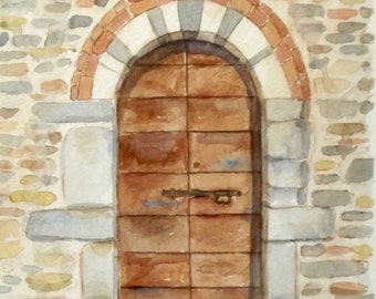 ancient doorway watercolor painting wall art warm tone