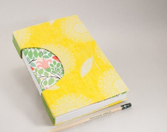 Hand-Bound Journal, Notebook, Sketchbook or Guestbook that's SO Bright and Cheerful with Sunflowers, Leaves and Birds
