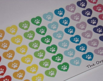 Rainbow Heart Paw Print Stickers / Pet Stickers / for your Erin Condren