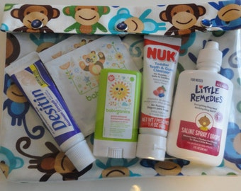 XL Monkeys Ouch Pouch 7x9 Clear Pocket Organizer for First Aid Meds Diaper Bag Pre School Nursing Supplies Air Travel Friendly