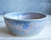 Ceramic Dog or Cat Bowl Handmade in Shades of Soft Blue and Purple - Pet Dish Ceramic Water or Food Pottery Made in the USA Ready to Ship