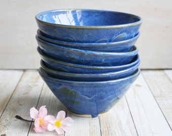 Set of Six Rustic Handmade Ceramic Bowls in Indigo Blue Glaze Handcrafted Stoneware Pottery Ready to Ship