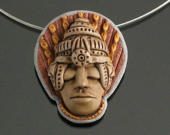 Tribal Talisman Necklace, Art Jewelry Face Pendant, Tribal Jewelry, Coat Lapel Brooch, Art Pin, Unique Gift, Women, Men, Spiritual Jewelry