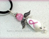 Breast Cancer Awareness Pink Ribbon Angel Beaded Glass Pendant
