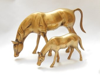 vintage brass horses, 2 horse figures, 9 and 5 inches, handcrafted, solid, equestrian, home and living, home decor
