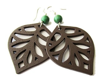 Brown Wooden Leaf and Green Stone Earrings, Nature Theme Hippie Bohemian Style Dangle Earrings, Lightweight Lazer Cut Jewellery