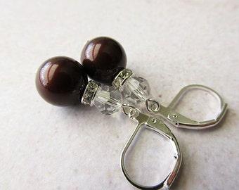 Deep Maroon Swarovski Pearl and Crystal Drop Earrings