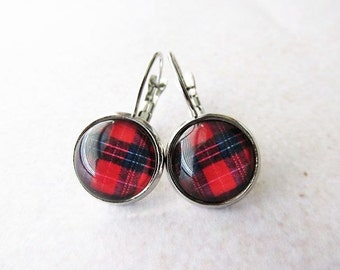 Blue and Red Tartan Glass Dome Lever Back Earrings