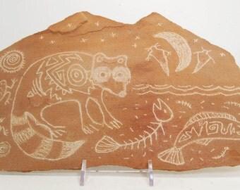 Magic Moon Raccoon Hand Carved Rock Petroglyph