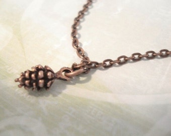 Tiny Pinecone Necklace Brass Pinecone Necklace Gift For Her Necklace Little Brass Pincecone Winter Pinecone Jewelry Pine Cone Charm Necklace