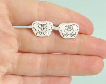 Pelvis Earrings Black Skeleton Jewellery Anatomy Jewelry