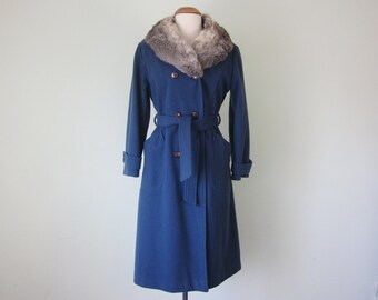 70s marine blue fur collar belted long coat (s - m)