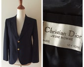 vintage Christian Dior navy blazer / slim fit Dior jacket