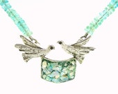 Dove necklace with Apatite beads and roman glass