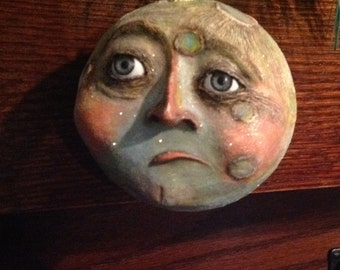 Folk Art Moon Face Ornament man in the moon