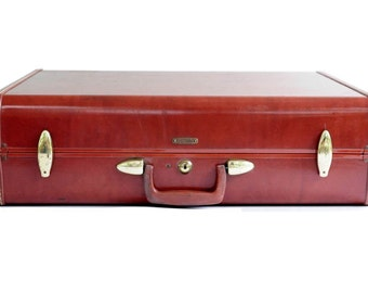 Large Suitcase Vintage-Luggage Samsonite-Travel Camel