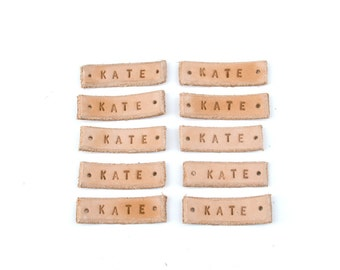 3/8'' Natural Leather Labels, 4 OZ, 1-6 letters, Personalized Labels, stamped leather tag, embossed create your own labels