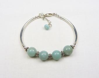 Amazonite Bracelet - Beaded Jewelry -Genuine Gemstone - Gift For Her - Sterling Silver - Bali Silver - Tube Bracelet