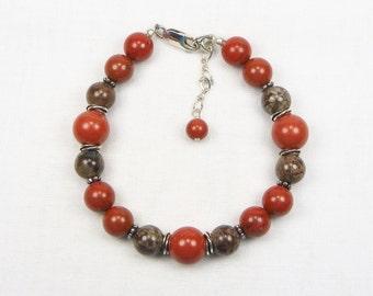 Red Jasper and Brown Snowflake Obsidian Bracelet - Beaded Jewelry - Genuine Gemstones - Gift for Her - Sterling Silver