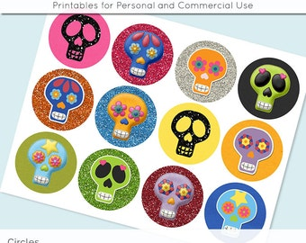 Day of the Dead Sugar Skulls Digital Collage Sheet 2.5in and 2 Inch Circle Download Printable Images for Gift Tags Cards Scrapbooking JPG